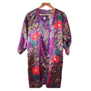 Silk Paisley Flowered Robe ( Vintage)